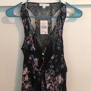 NWT SOCIALITE SHEER TOP WITH LACE BACK